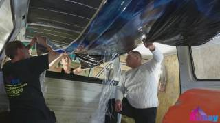 Натяжной потолок с фотопечатью в микроавтобусе