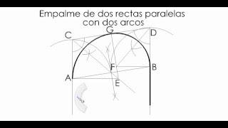 Geometría descriptiva: Empalme de dos rectas paralelas con dos arcos