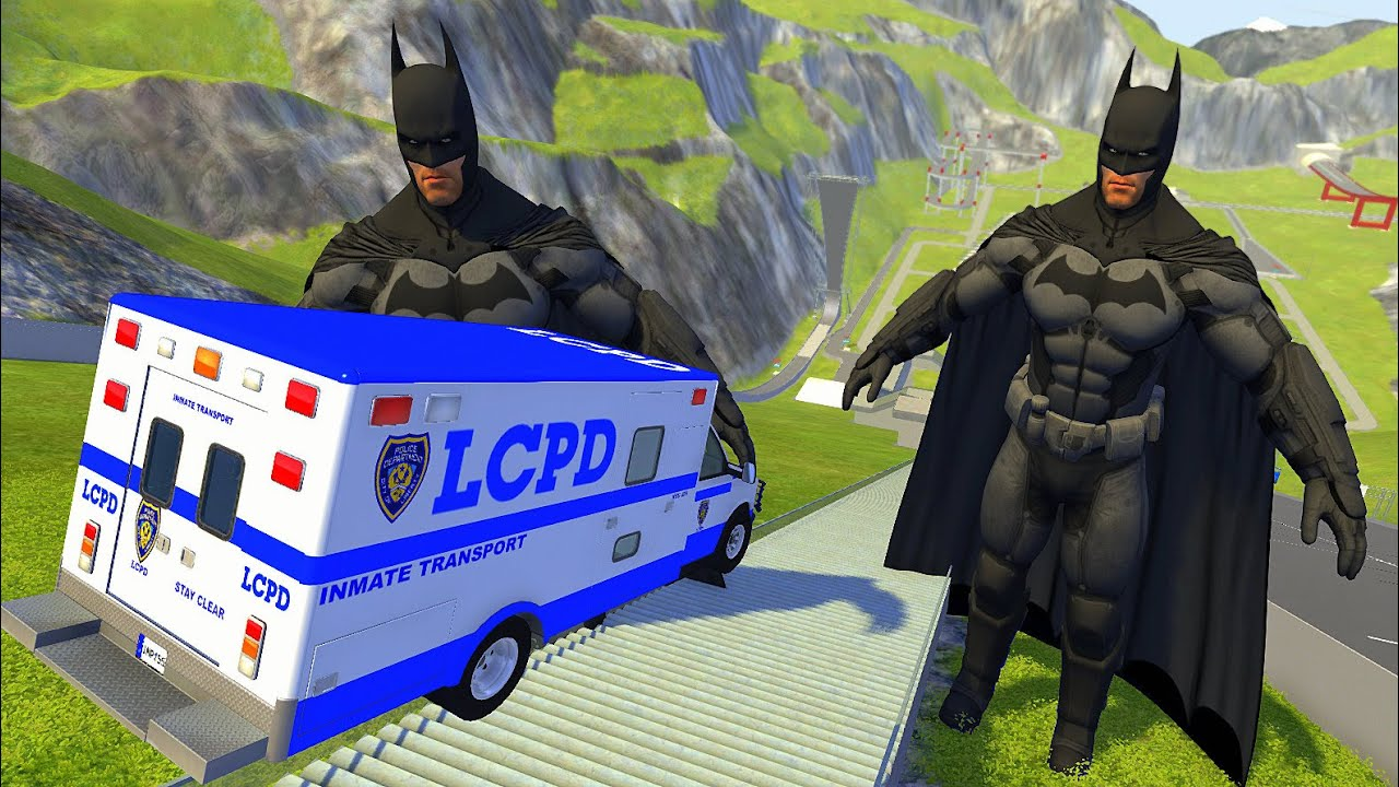 Stairs Jumps Down Between Two Batmen (Crash Test) - BeamNG drive High Speed Jumps Down Stairs