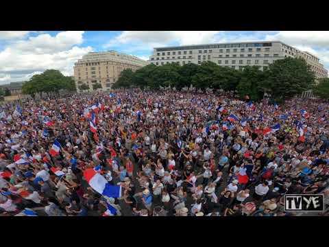 Manifestations massives contre le pass sanitaire à Paris - 31 juillet 2021 [VUE AÉRIENNE][4K]