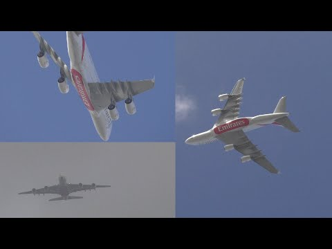 Emirates A380 Go Around Due to Windshear Impressive Turn Manchester Airport
