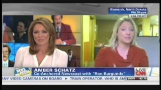 Amber Schatz talks about anchoring the news with Ron Burgundy (December 2, 2013)