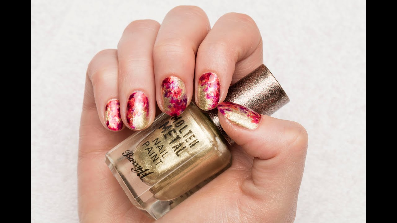 Barry M Abstract Meadow Nail Art Tutorial ft. Molten Metal & Lolly ...