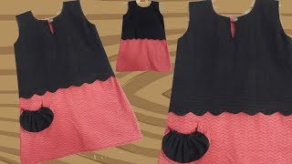 Stylish and Designer baby frock with pocket // by simple cutting