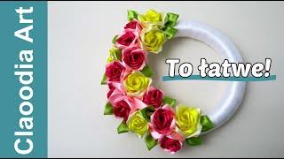 Wianek na drzwi z róż kanzashi (DIY Wreath on the door with kanzashi roses)