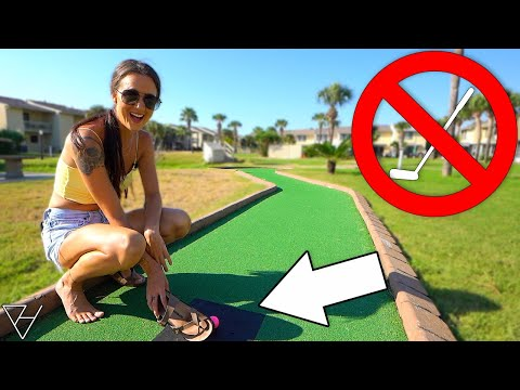 Mini Golf No Putter Challenge! - We Get A Hole In One!