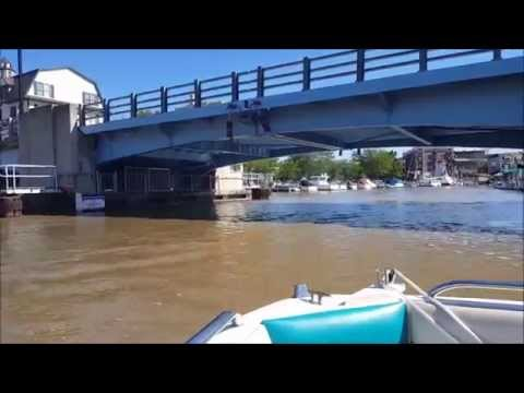 Relaxing boat POV ride on Black River in South Haven