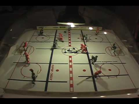 Playing Doubles on a Super Chexx Bubble Hockey table - YouTube