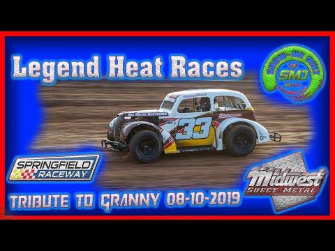 SO3-E390 Legends Heat Races - Tribute to Granny Springfield Raceway 08-10-2019 #DirtTrackRacing