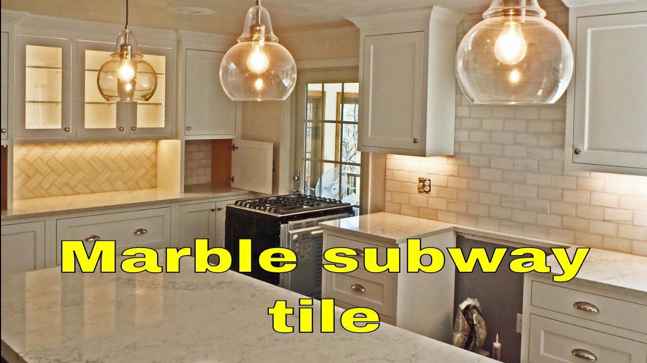marble subway tile kitchen backsplash quick view with diagonal herringbone