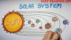 how to easy & simple solar system drawing for school project || solar system poster drawing