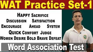 Word Association Test (WAT) Prepare for Psychology Test in SSB Interview - WAT Practice Set | Defence Gyan For more Defence Exam, SUBSCRIBE to this ...