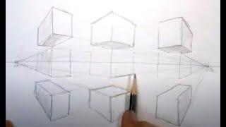 Basic how-to Draw 2pt Perspective boxes exercise