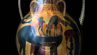Achilles and Ajax playing dice Amphora Vase Trojan War Museum Reproduction