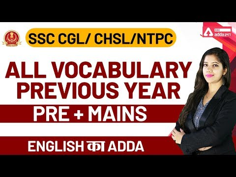 All Vocabulary Previous Year PRE + MAINS | SSC CGL English Preparation | SSC CGL | SSC CHSL | NTPC