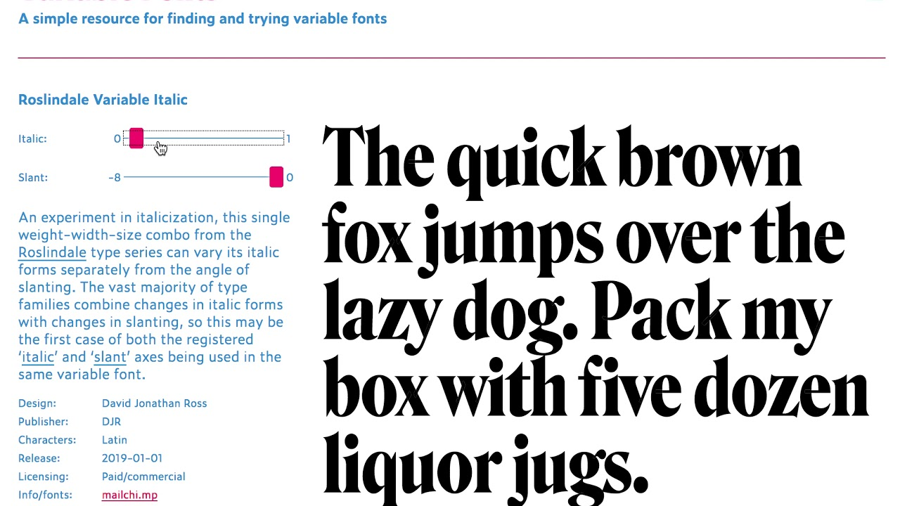 January's font of the month: Roslindale Variable Italic | David