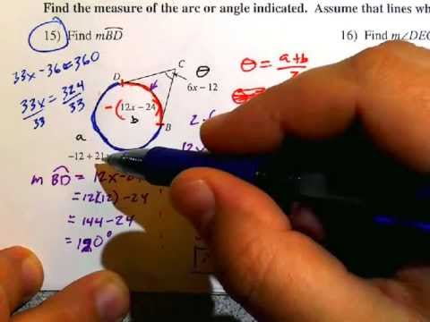 Secant Tangent And Tangent Tangent Angles Pg 2 Youtube