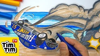 How to draw CARS 3 DOC HUDSON CRASH SCENE | Easy step-by-step for kids | Art colors