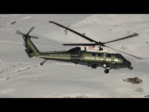 WEF Heliport Davos - VH-60 White Hawk, UH-60 Black Hawk With Trump Arriving + Standart Traffic