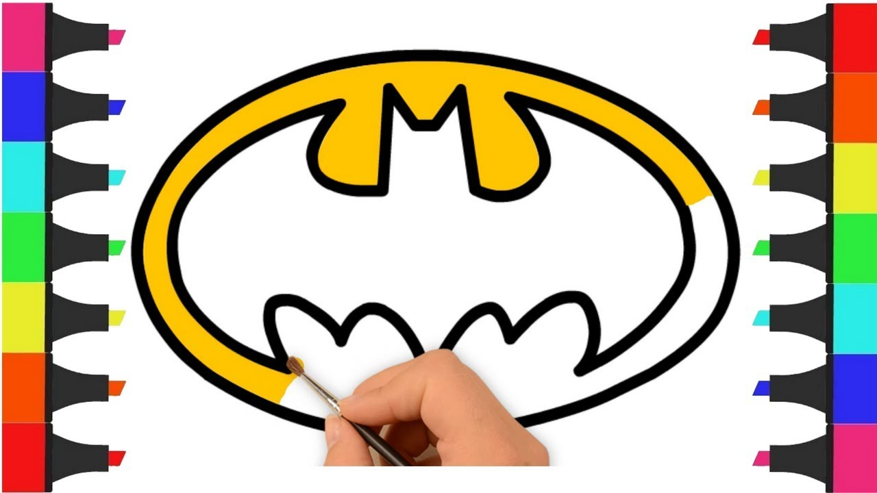 Batman Logo Coloring Pages for Kids – How to Draw Batman Logo ...