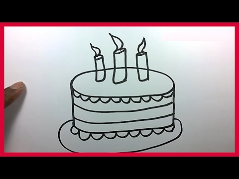 How to Draw a Birthday Cake for Kids Cartoon Cake Drawing Easy