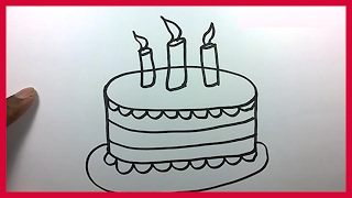 How to Draw a Birthday Cake for Kids - Cartoon Cake Drawing Easy