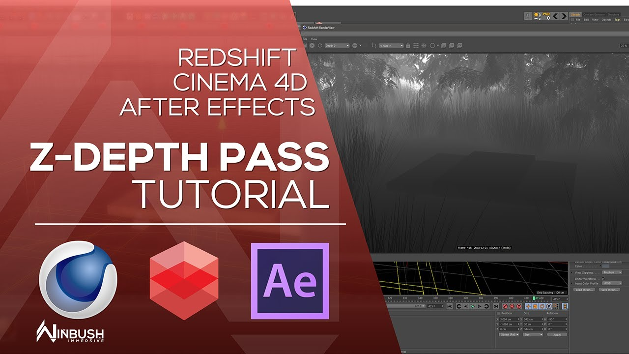 Redshift & Cinema 4D with After Effects - Create Z Depth