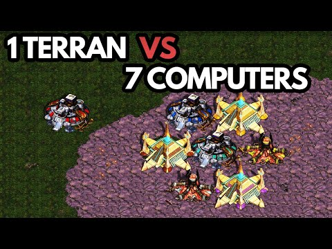 1 Terran vs 7 Computers (Starcraft Remastered)
