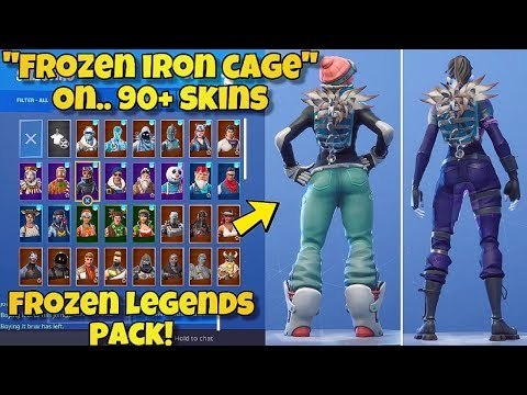"""NEW """"FROZEN IRON CAGE"""" BACK BLING Showcased With 90+ SKINS! Fortnite NEW FROZEN LEGENDS PACK!"""