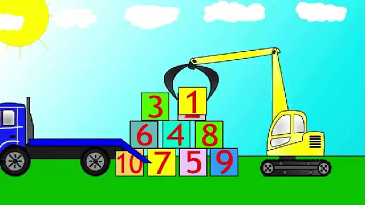 Cartoons for children about cars. An excavator - loader ...