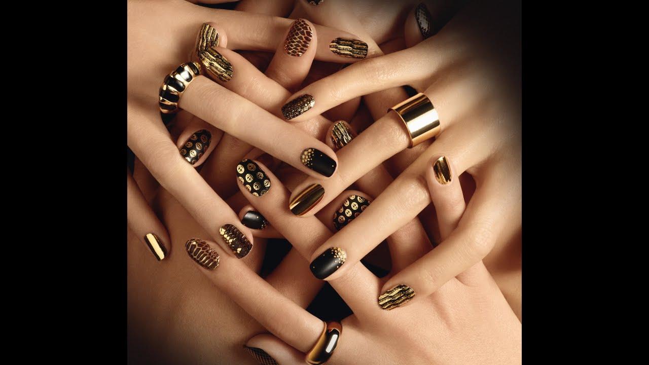Modele De Unghii Cu Gel Aurii Gold Nails Art Youtube