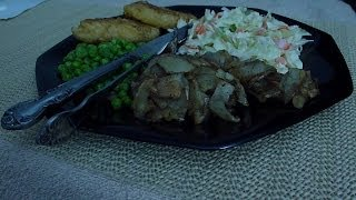 Asmr: Eating Cod Fillet, Coleslaw, Steamed Peas And Fried Potatos With Their Skins