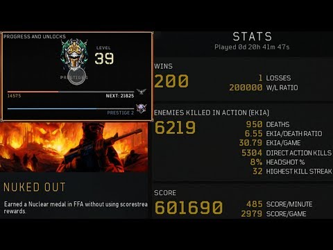 TOP RANKED FFA PLAYER 6.50KDR 200.00WLR 4 NUKED OUTS 600,000 SCORE AC130+GAMEPLAY