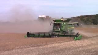4 John Deere S680 Combines Harvesting Soybeans