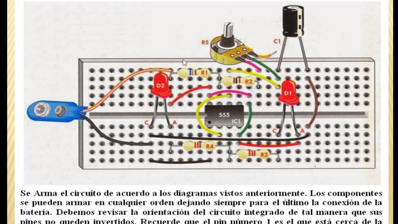 Circuito Luces Led Intermitentes : Circuito electronico luces de veloc variable con youtube