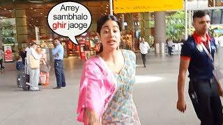 see jhanvi kapoors sweet caring nature saves reporter from falling at airport