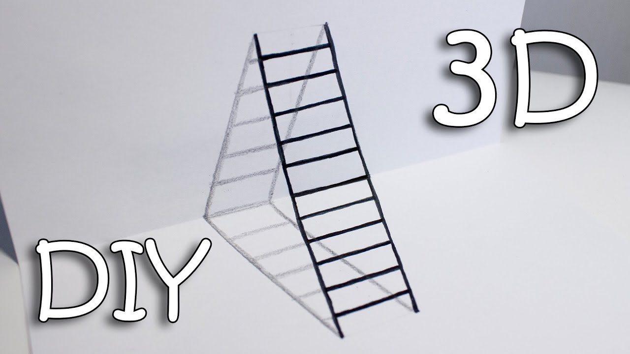 Diy 3d Ladder  How To Draw Ladder Optical Illusion