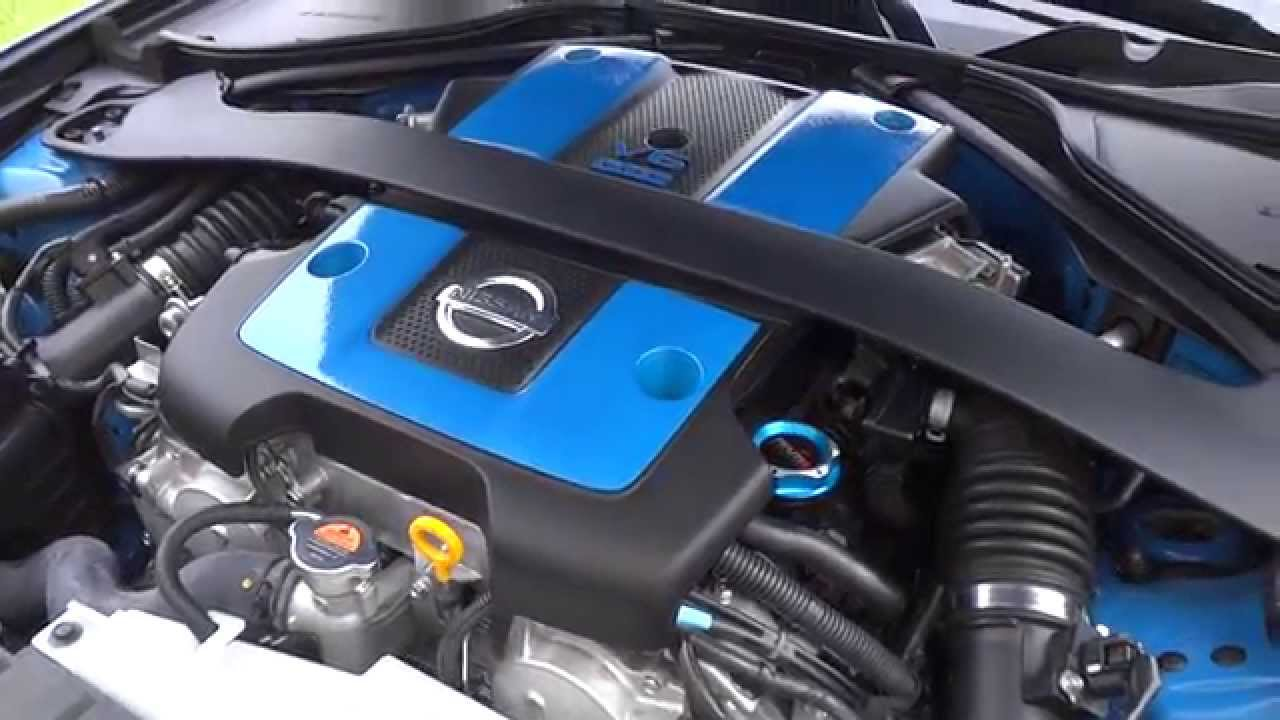 Blue Painted Nissan 370z Engine Cover Youtube