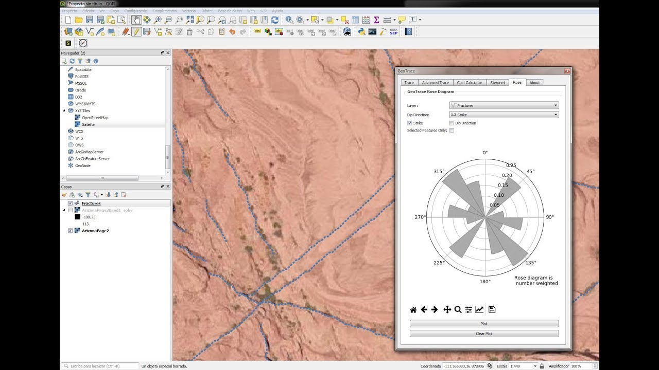 Extracting geological faults and orientation representation