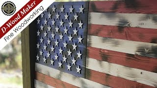 Rustic Burned Flag * Red, White, and Blue * Wall Decor