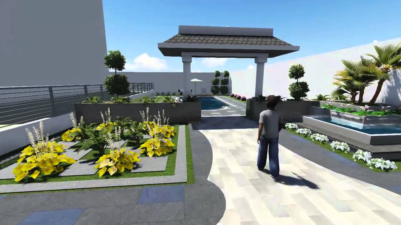 Amenagement jardin avec piscine youtube for Amenagement jardin 41