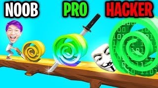 Can We Go NOOB vs PRO vs HACKER In SPIRAL ROLL!? (ALL LEVELS!)