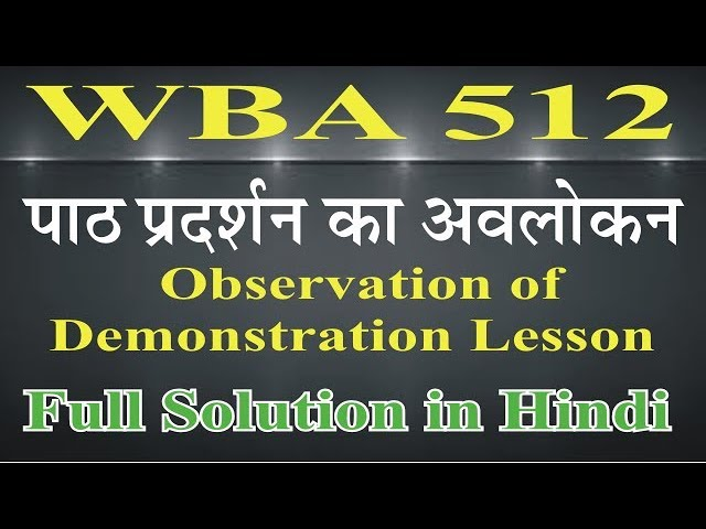 WBA 512 Observation of Demonstration Lesson #1