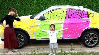메모지 학용품은 너무 재미있어요!! 서은이의 포스트잇 붙이기 놀이 타요 버스 자동차 Seoeun colored car for mommy