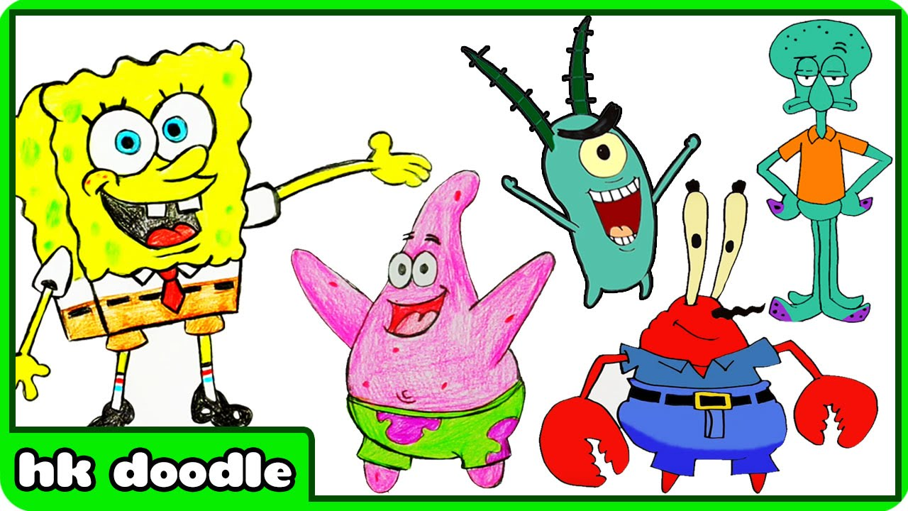 How To Draw Spongebob Squarepants Characters - Easy Speed Drawing ...