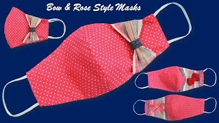 Stylish Rose and Bow Face Mask Pattern Face Mask Sewing Tutorial Make DIY Face Mask at Home