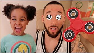 FamousTubeKIDS Pretend to Hypnotize Dad With Fidget Spinners