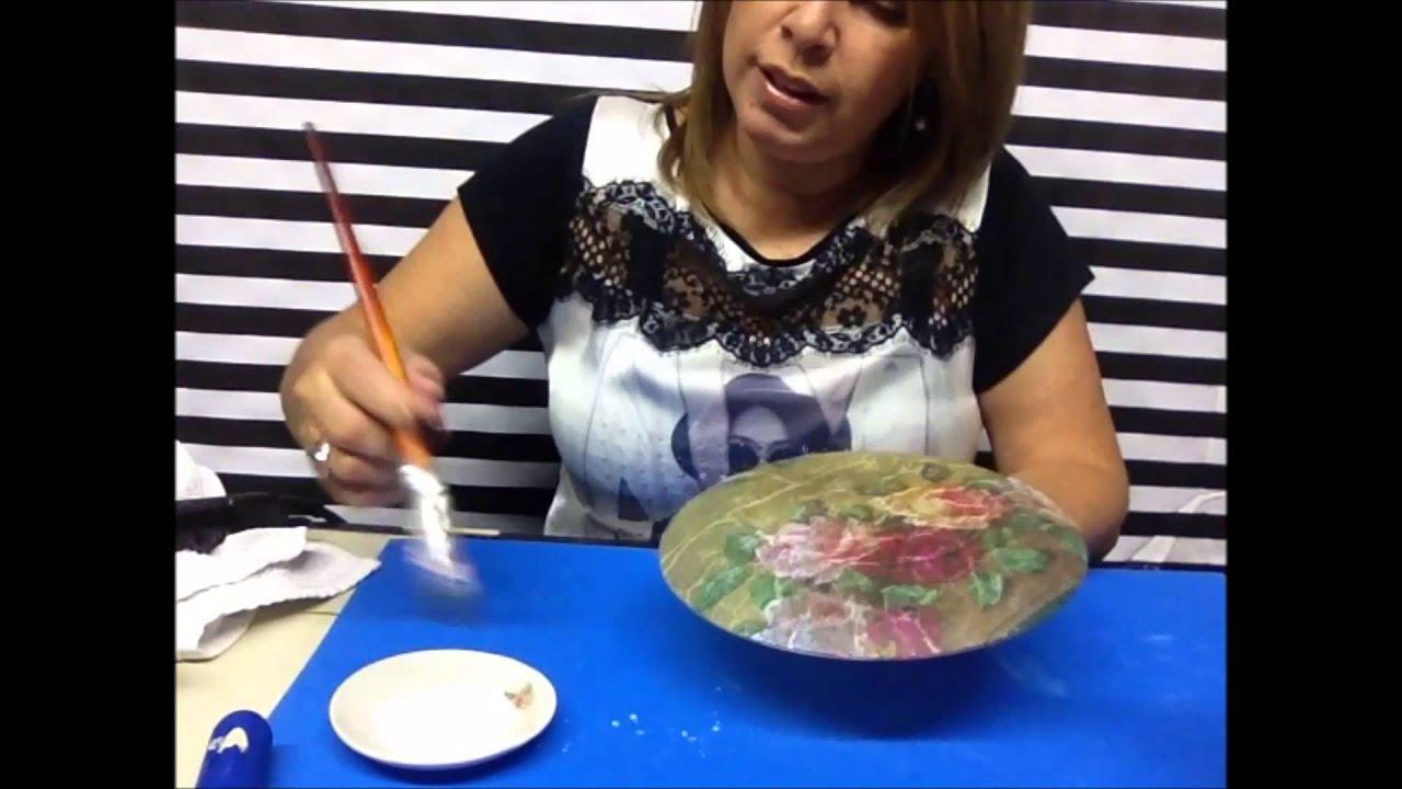 Artesanato Na Tv Arte Brasil ~ ARTESANATO Decoupage em pratos de vidro para decoraç u00e3o YouTube