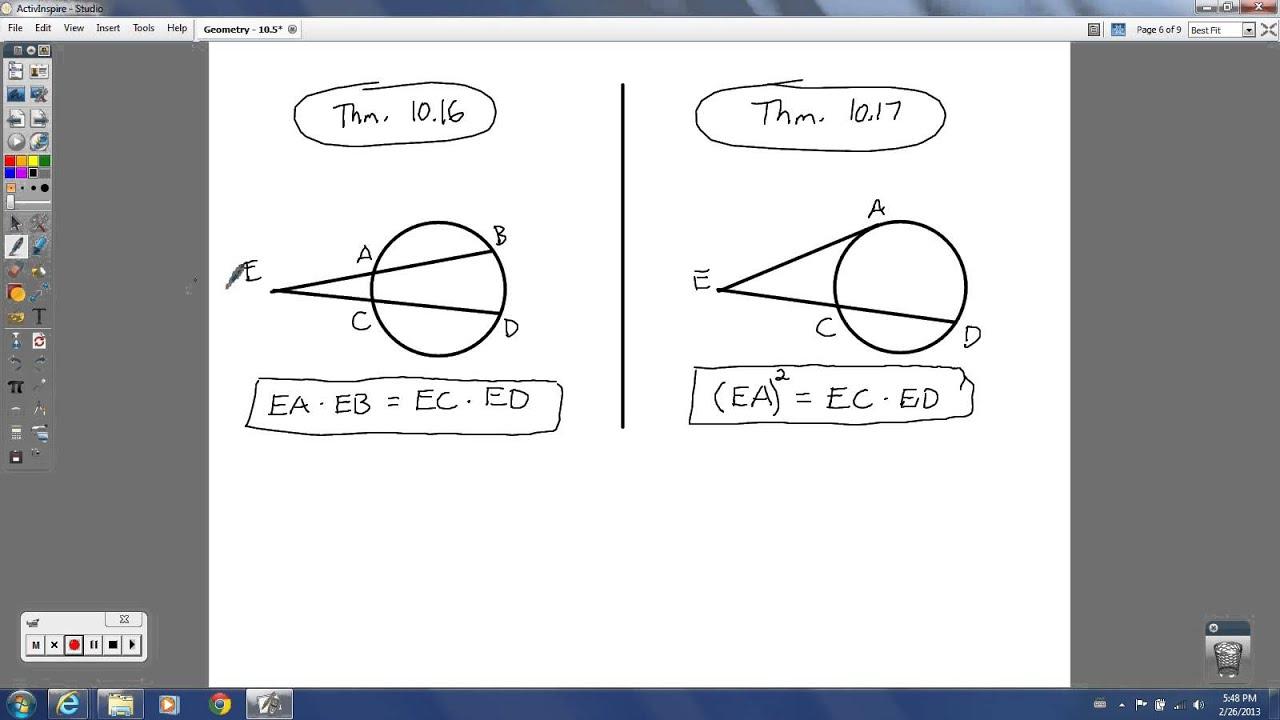 Geometry   10.5   Segment Lengths in Circles   YouTube