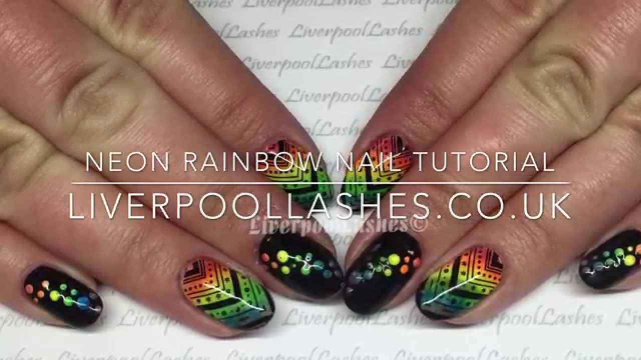 Neon Rainbow Nail Tutorial - YouTube